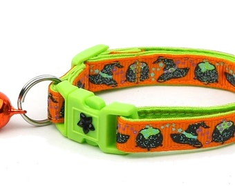 Halloween Cat Collar -Witches Brew on Orange and Green - Kitten or Large Size - Halloween Cat Collar B14D111
