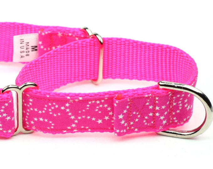 Martingale Dog Collar - White Stars on Pink - Small, Medium, Large & X-Large