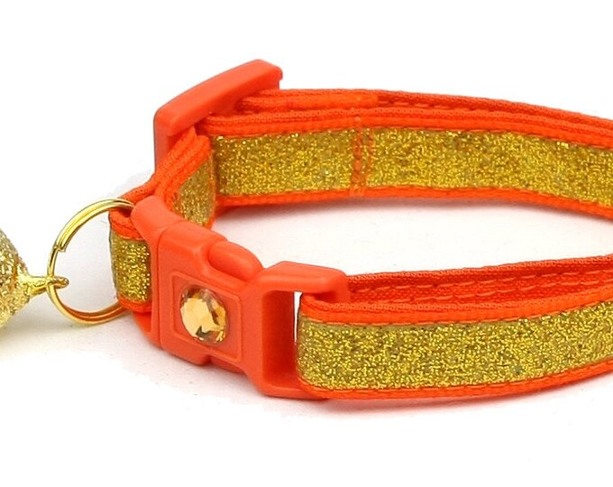 Gold Glitter Cat Collar -Gold Glitter Over Orange - Kitten or Large Size