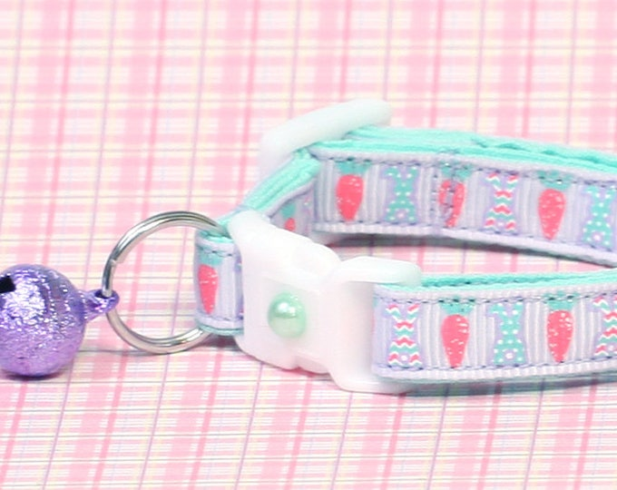 Easter Cat Collar - Pastel Easter Bunnies and Carrots on Purple - Kitten or Large Size