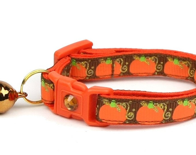 Pumpkin Cat Collar - Pumpkins and Gold on Brown - Small Cat / Kitten Size or Standard / Large Size Collar