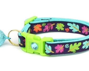 Fall Cat Collar - Colorful Leaves on Plum - Small Cat/ Kitten Size or Large Size Collar D39