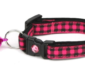 Plaid Cat Collar - Buffalo Plaid on Pink- Small Cat / Kitten Size or Large Size