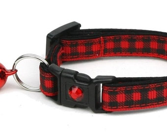 Plaid Cat Collar - Buffalo Plaid on Red - Safety Breakaway - Small Cat / Kitten Size or Large Size B55D175