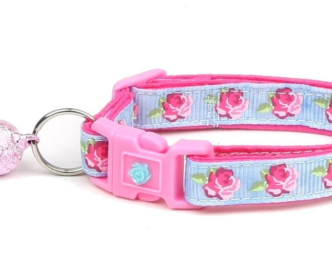 Floral Cat Collar - Pink Tea Party Roses on Blue - Small Cat / Kitten Size or Large Size B39D54
