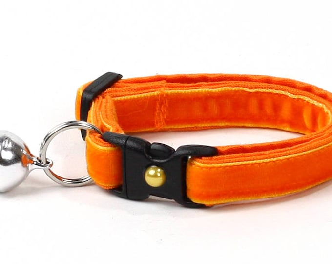 Soft Velvet Cat Collar - Bright Orange - Kitten or Large Size