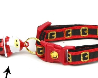 Christmas Cat Collar - Here Comes Santa Claus - Small Cat / Kitten Size or Large(standard) Size Collar B51D74