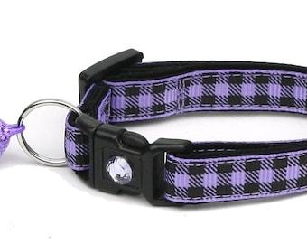 Plaid Cat Collar - Buffalo Plaid on Purple - Small Cat / Kitten Size or Large Size