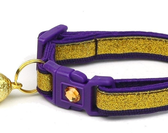 Gold Glitter Cat Collar -Gold Glitter Over Royal Purple - Kitten or Large Size