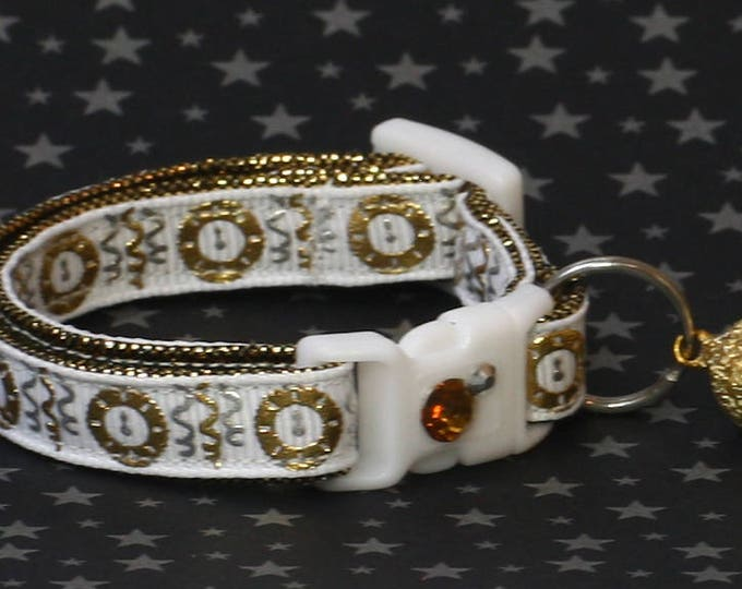 New Years Cat Collar - Clock Strikes Midnight on White - Small Cat / Kitten Size or Large Size