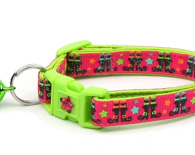 Halloween Cat Collar -Witchy Boots on Pink - Kitten or Large Size - Halloween Cat Collar