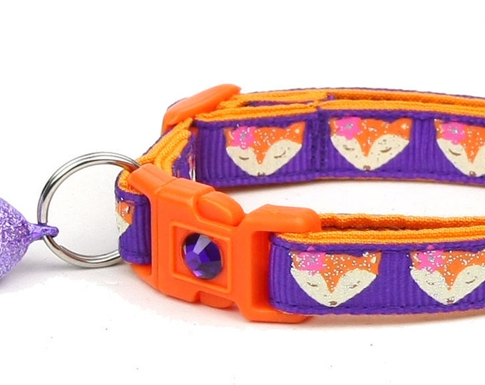 Fox Cat Collar - Foxes on Purple - Small Cat / Kitten Size or Large Size