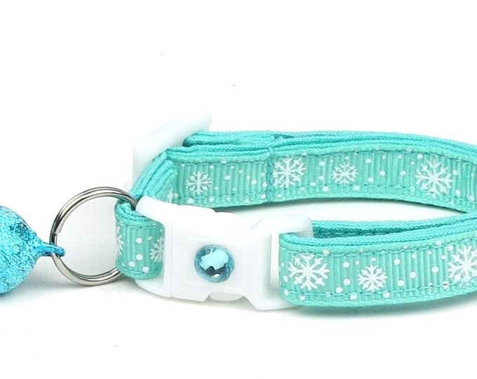 Snowflake Cat Collar -Snow Flurries on Aqua - Breakaway Cat Collar - Kitten or Large Size