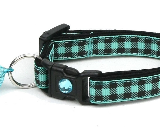 Plaid Cat Collar - Buffalo Plaid on Teal - Small Cat / Kitten Size or Large Size B83