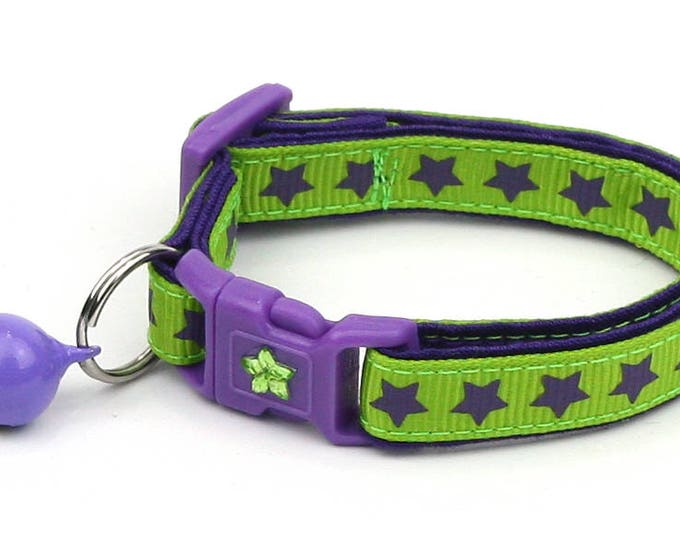 Star Cat Collar - Purple Stars on Green - Small Cat / Kitten Size or Large Size