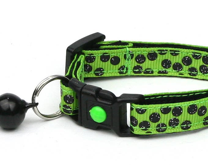 Polka Dot Cat Collar - Black Dots on Bright Green - Breakaway Cat Collar - Kitten or Large size B71