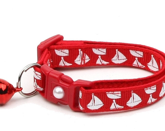 Nautical Cat Collar - Sailboats on Red - Kitten or Large Size
