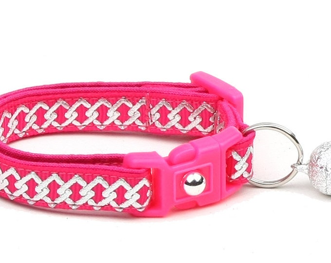 Celtic Knot Cat Collar - Silver Knots on Bright Pink - Small Cat / Kitten or Large Cat Collar