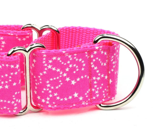 "Whippet Dog Collar - White Stars on Pink - 1.5"" Martingale Dog Collar"