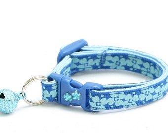 Floral Cat Collar - Blue Flowers - Kitten or Large Size B64D49