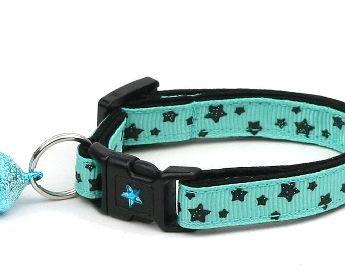 Star Cat Collar - Black Magic Stars on Aqua - Small Cat / Kitten Size or Large Size