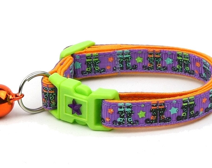 Halloween Cat Collar -Witchy Boots on Purple - Kitten or Large Size - Halloween Cat Collar