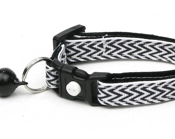 Chevron Cat Collar - Black Herringbone Chevrons on White - Small Cat / Kitten Size or large Size