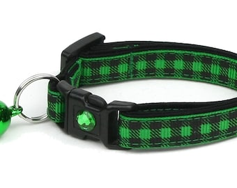 Plaid Cat Collar - Buffalo Plaid on Green - Small Cat / Kitten Size or Large Size