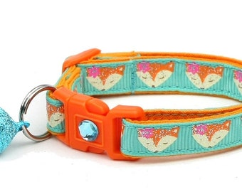 Fox Cat Collar - Foxes on Aqua - Small Cat / Kitten Size or Large Size B77D172