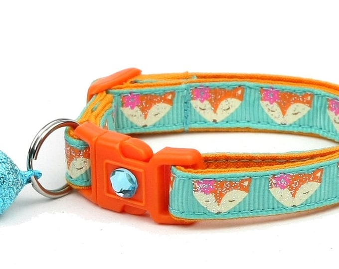 Fox Cat Collar - Foxes on Aqua - Small Cat / Kitten Size or Large Size