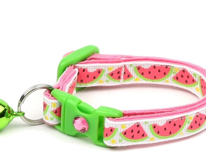 Summer Cat Collar - Sweet Pink Watermelon - Small Cat / Kitten Size or Large Size