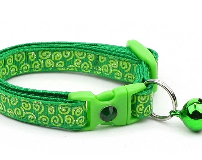 Green Cat Collar - Bright Green Squiggles on Green - Bright Green Swirls on Green - Doodles - Kitten or Large Size