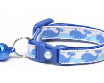Whale Cat Collar - Happy Blue Whales - Small Cat / Kitten Size or Large Size