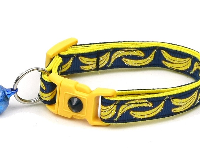 Fruit Cat Collar - Bananas on Navy Blue- Small Cat / Kitten Size or Large Size