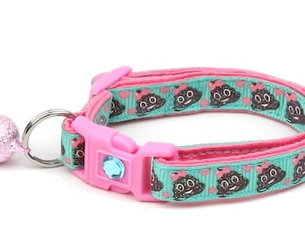 Poop Cat Collar - Cute Little Sh!t on Blue - Poop Emoji - Small Cat / Kitten Size or Large Size