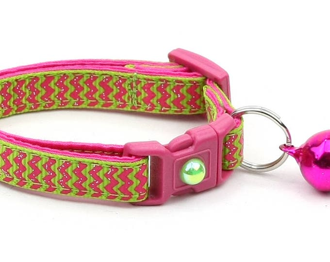 Chevron Cat Collar - Pink Chevrons on Bright Green - Breakaway Cat Collar - Kitten or Large size