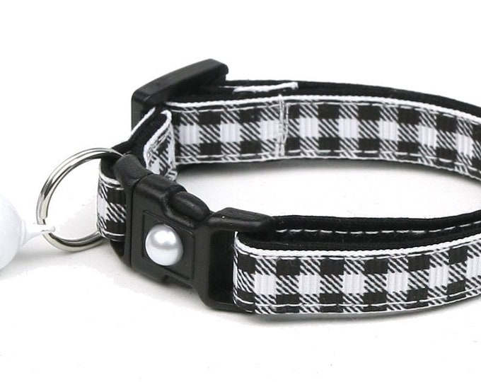 Plaid Cat Collar - Buffalo Plaid on White  - Small Cat / Kitten Size or Large Size