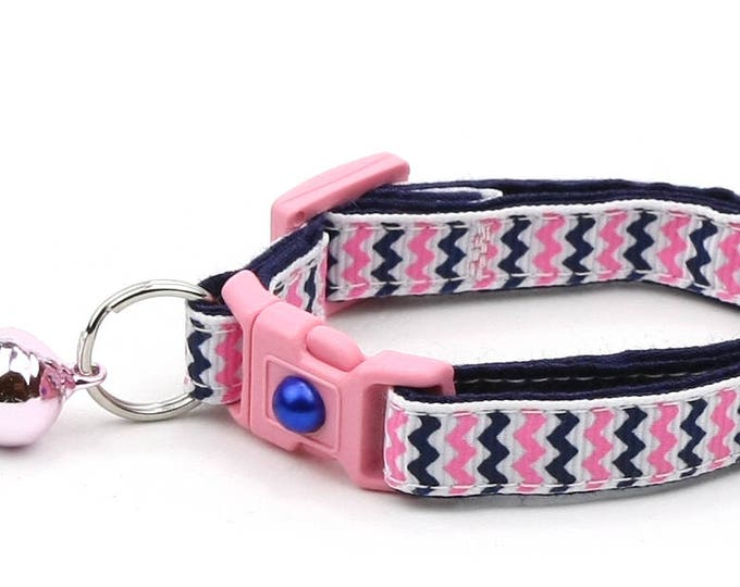 Chevron Cat Collar - Pink and Navy Chevrons - Breakaway Cat Collar - Kitten or Large size
