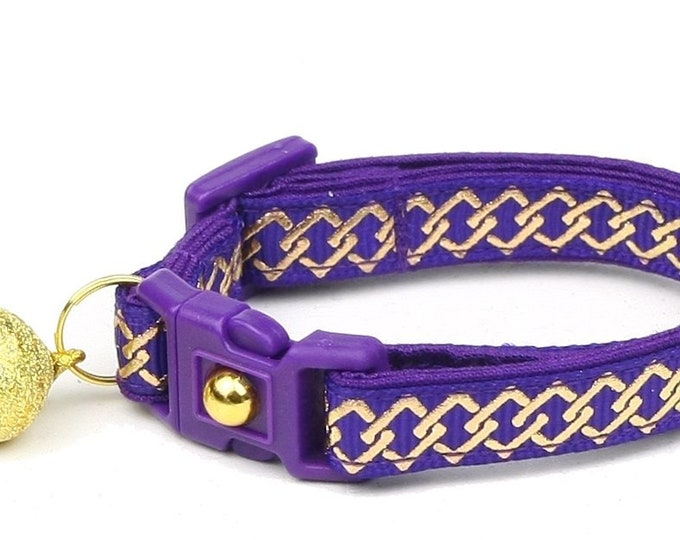 Celtic Knot Cat Collar - Gold Knots on Purple - Small Cat / Kitten or Large Cat Collar