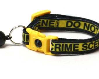 Trouble Maker Cat Collar - Crime Scene Do Not Cross- Safety Breakaway - Small Cat / Kitten Size or Large Size