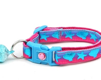 Tropical Cat Collar - Bright Seashells on Blue and Pink - Seashells and Starfish - Kitten or Large Size - Nautical