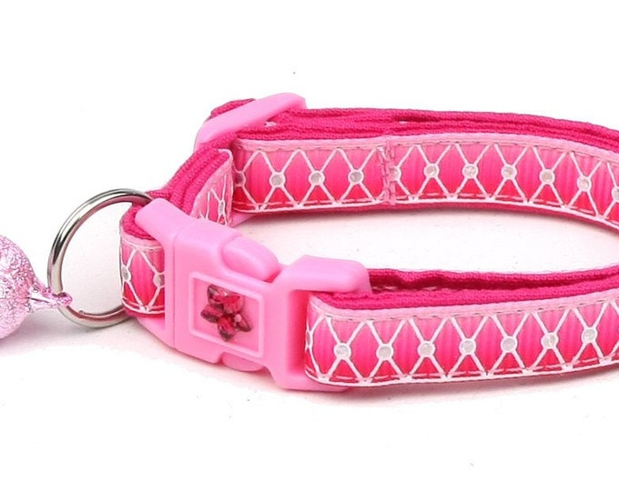 Ombre Cat Collar - Diamond Mesh over Pink Ombre - Small Cat / Kitten or Large Cat Collar