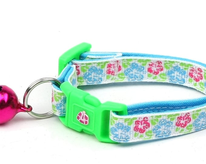 Tropical Cat Collar - Hibiscus Flowers - Kitten or Large Size - Beach - Surfer