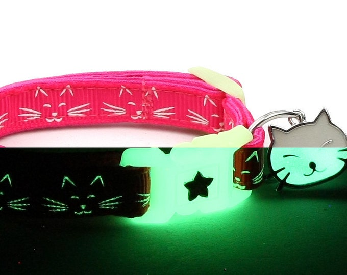 Glow in the Dark Cat Collar - Glowing Cat Faces on Pink - Breakaway Cat Collar - Kitten or Large size