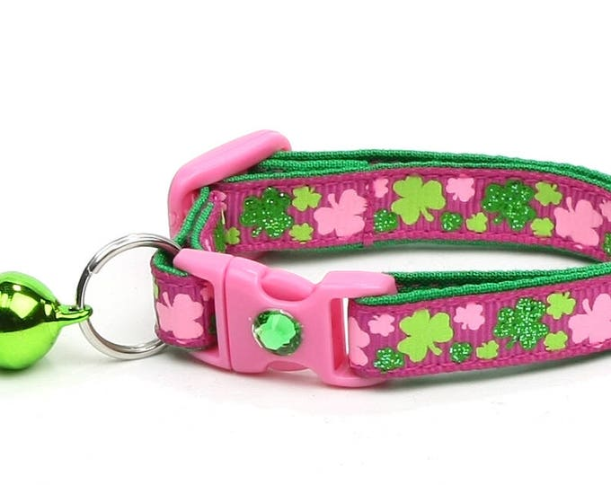 St. Patrick's Day Cat Collar - Bitty Shamrocks on Dark Pink - Small Cat / Kitten or Large Cat Collar