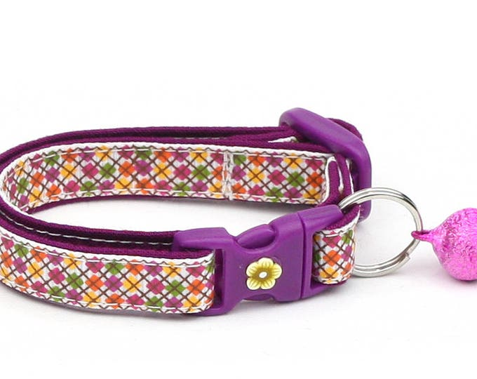 Argyle Cat Collar - Plum Argyle - Small Cat / Kitten Size or Large Size