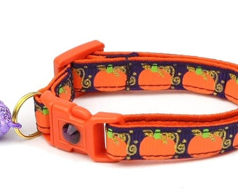 Pumpkin Cat Collar - Pumpkins and Gold on Plum - Small Cat / Kitten Size or Standard / Large Size Collar D53
