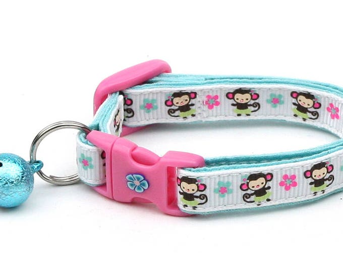 Hawaii Cat Collar - Luau Hula Monkey - Small Cat / Kitten Size or Large Size