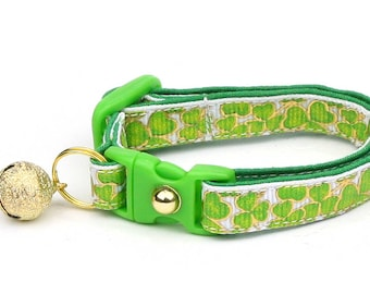 St. Patrick's Day Cat Collar - Gilded Shamrocks - Small Cat / Kitten or Large Cat Collar