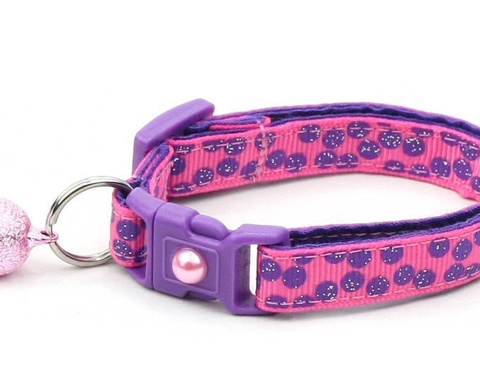 Polka Dot Cat Collar - Purple Dots on Bright Pink - Breakaway Cat Collar - Kitten or Large size